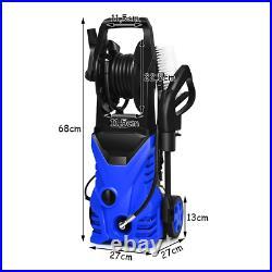 Nettoyeur Haute Pression 1400W 140Bar 300L/H 2 Buses Rotative et HP Bleu