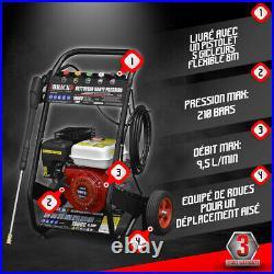 Nettoyeur Haute Pression Thermique 210Bars 5 Gicleurs + Pistolet + Flexible 8M